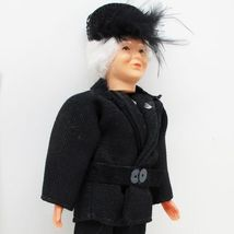 Dressed Granny Lady Doll 1509 Hat Caco Black Suit Flexible Dollhouse Min... - $39.14
