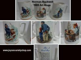 1985 Norman Rockwell Gold Trim Porcelain Decor Art Mugs Set of 3 - $35.99