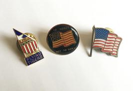 3 US Flag Lapel Pins• Flying Tigers Sept 11 • Patriotic American USA Pi... - $11.83