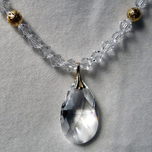 Crystal Bicone Necklace with Drop Pendant image 1