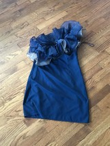 Women's Asos Blue Gray Dress Party Cocktail Ruffle One Sleeve Dress Size 10 - $65.44