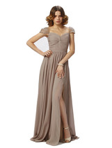 Cheap Cap Sleeves Prom Dresses Brown, Evening Gown Long,Formal Party Dress - $159.00