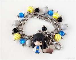 Gintama Katsura Charm Bracelet, Stainless Steel Chain, Anime Jewelry - $38.00