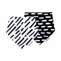 Tiny Twinkle Bandana Bibs 2 Pack - Black and White Set, Waterproof Super Absorbe
