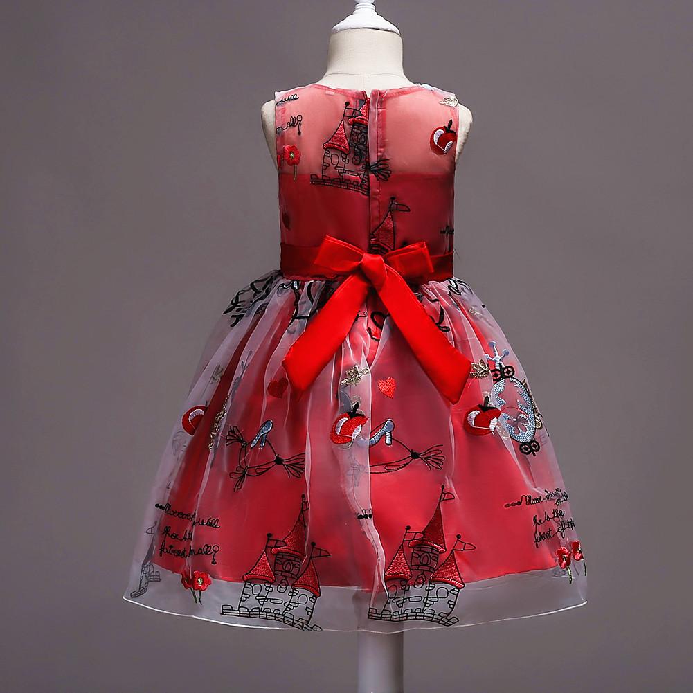 Red Birthday Girl Dress Short  Pricess Wedding Flower Girls Dresses Kids  Formal