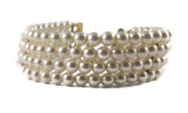 Vintage Faux Pearl Necklace, Four Strand Pearl Choker, Bridal Necklace - $32.00