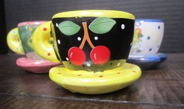 Mary Engelbreit mini teacups cherries & more!  set of three attached sau... - $19.88
