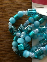 """COUSIN Glass Beads Turquoise 20"""" Strand 51cm Cylinder Mix Assortment Cra... - $4.94"""
