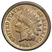 1863 Indian Head Penny / Cent Coin Lot# A 1484