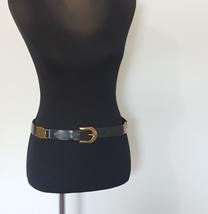 Fossil Black Leather Ladies Belt Goldtone Hardware  - £15.51 GBP
