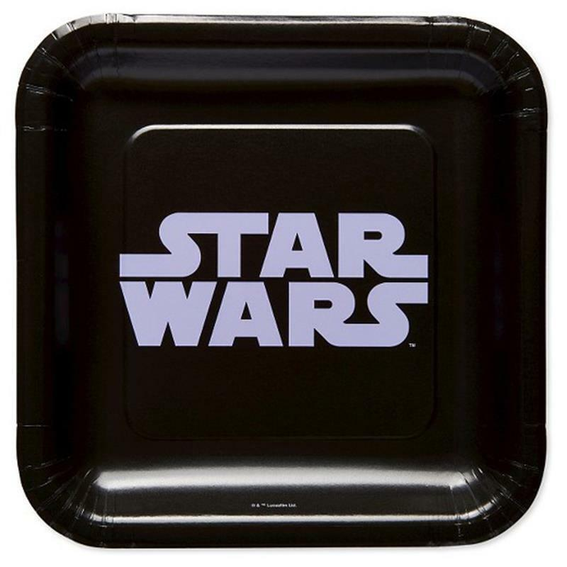 Star Wars Classic Black Dessert Plates 8 per Package Birthday Party Supplies NEW