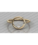 Certified 0.04Ct  Round Natural Diamond 14K Solid Gold Solitaire Engagement Ring - $163.00