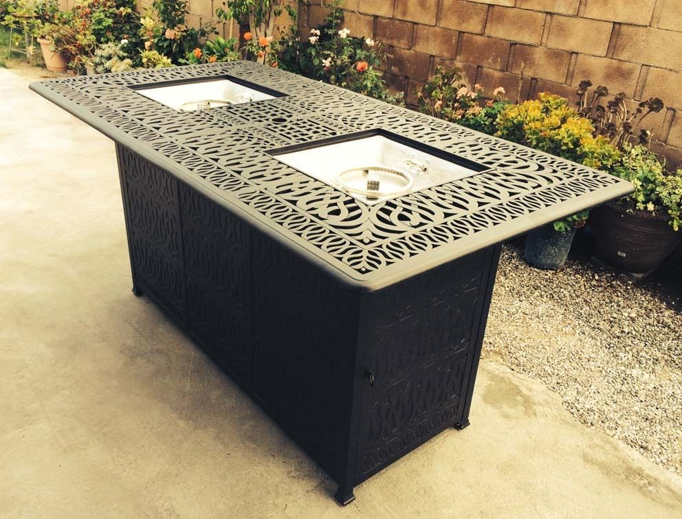 Bar height fire pit table set propane 7 piece cast ...