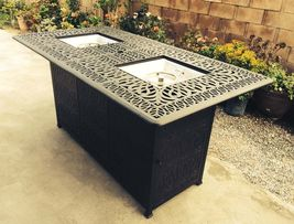 Bar height fire pit table set propane 7 piece cast aluminum outdoor wicker patio image 6