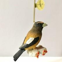 Danbury Mint Evening Grosbeak Songbird Christmas Tree Ornament Bird Figu... - $14.84