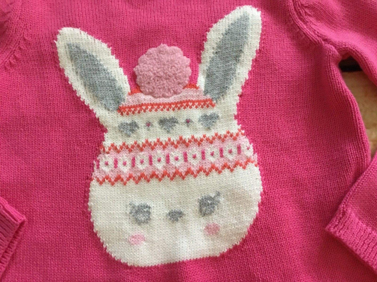 NWT Gymboree Fair Isle Flurry Pink Bunny Sweater Dress Girls Size 3t
