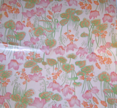 Vintage 1960's Gift Wrapping Paper Water Lily Flowers Pink Orange Green... - $9.99