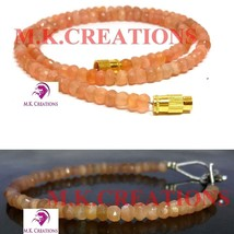 """Natural peach moonstone 3-4mm Beads Beaded 30"""" Necklace 7"""" Bracelet Jewelry Set - $28.41"""