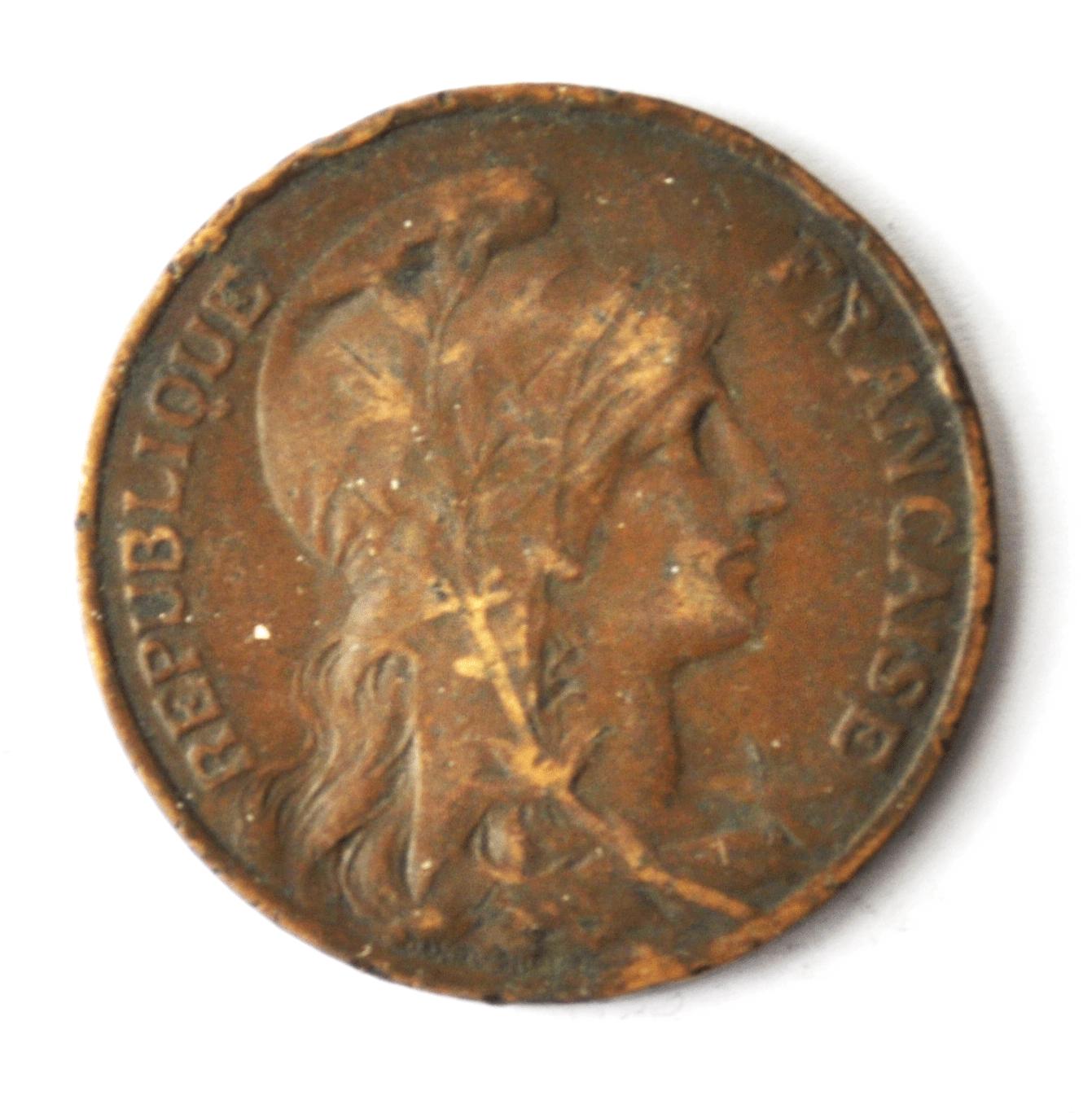 1913 France 10 Ten Centimes KM# 843 Bronze Coin