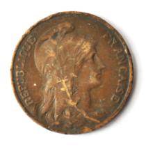 1913 France 10 Ten Centimes KM# 843 Bronze Coin  image 1