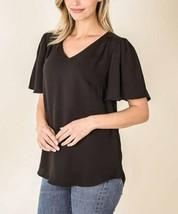 Lydiane Women's Pleated V-Neck Flutter-Sleeve Short Sleeve Top (Black, 2X) - $13.86