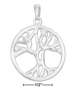 Life Pendant Sterling Silver High Polish Tree Of Life Pendant with Cubic... - $45.99