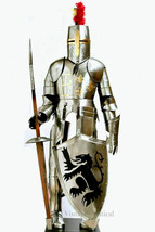 Medieval Knight Suit Of Full Body Armor Stainless Steel Templar Combat A... - $603.79