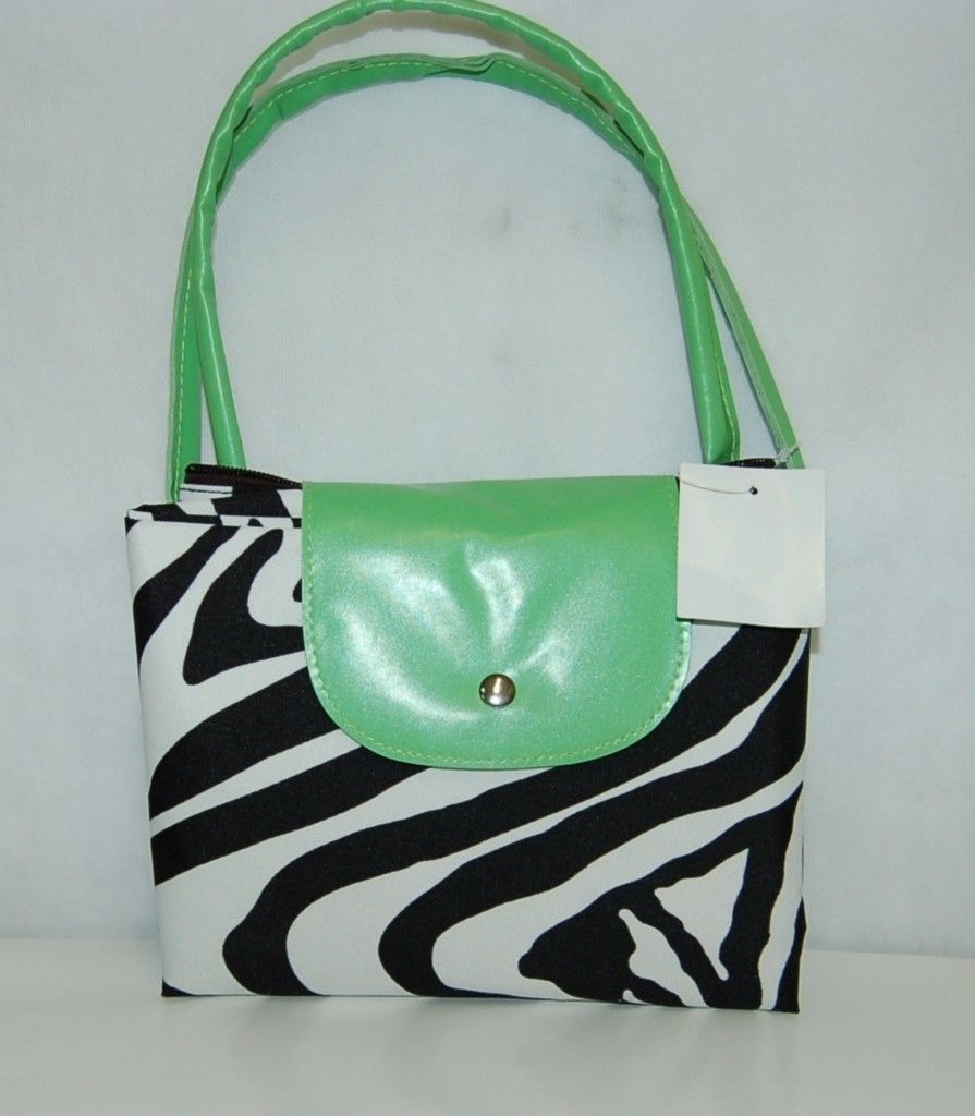 Lime Green Black And White Zebra Print Convertible Tote