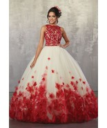 Sexy Backless Beaded Red Lace Prom Dresses Strapless Two Pieces Party Go... - $190.00