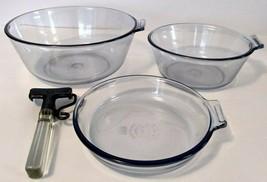 Vintage 1930's Set Pyrex Flameware Blue Tint Glass Saucepans Skillet & H... - $28.05