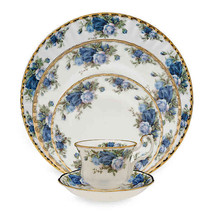 ROYAL ALBERT MOONLIGHT ROSE SALAD PLATE SETOF 4 FINE BONE CHNINA 22KT GOLD NEW  - $199.70