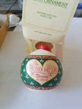 Vtg 1981 Hallmark Christmas Tree Ornament Mother & Dad Ball Read Descrip... - £7.14 GBP