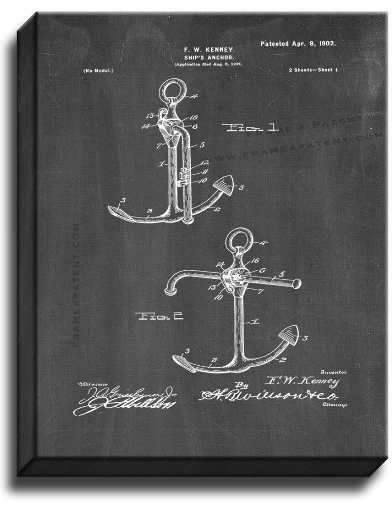 Primary image for Ship's Anchor Patent Print Chalkboard on Canvas