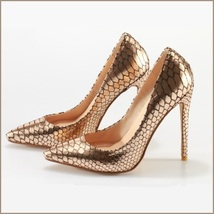 Metallic Gold Patent Leather Pointed Toe Embossed Snake Skin Stiletto Heels  image 2