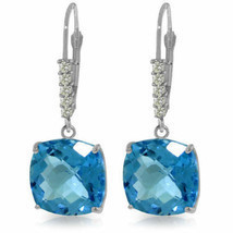 Genuine Blue Topaz Cushion Cut Gems & Diamonds Dangle Earrings 14K Solid... - €536,79 EUR