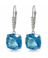 Genuine Blue Topaz Cushion Cut Gems & Diamonds Dangle Earrings 14K Solid... - £458.02 GBP