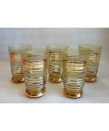 5 Retro Mod Borske Sklo Style Gold Silver and Gold Banded Amber Cordial ... - $24.70