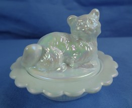 Cat on Nest Salt Dip Pearl Glass Kitten  - $17.75