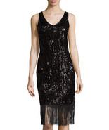 NWT Women JULIA JORDAN Sequin Sheath Dress W/Fringe, Black size 4 $220 - $69.29