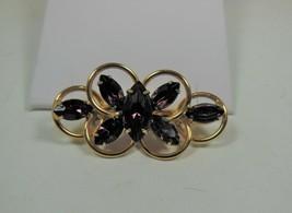 Vintage Gold Tone Purple Rhinestone Pin Brooch - $17.81