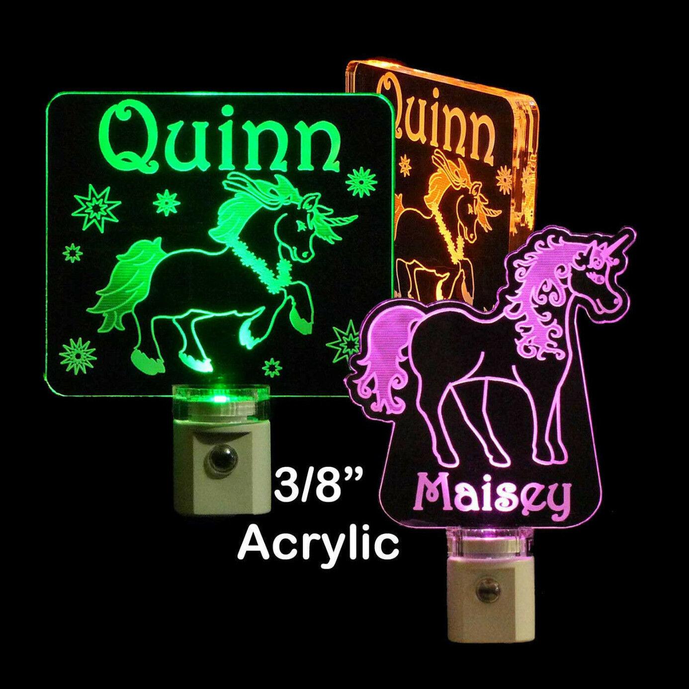 """Personalized Unicorn Night Light - LED - Girls Lamp 3/8"""" Acrylc"""