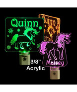 "Personalized Unicorn Night Light - LED - Girls Lamp 3/8"" Acrylc - $23.50"