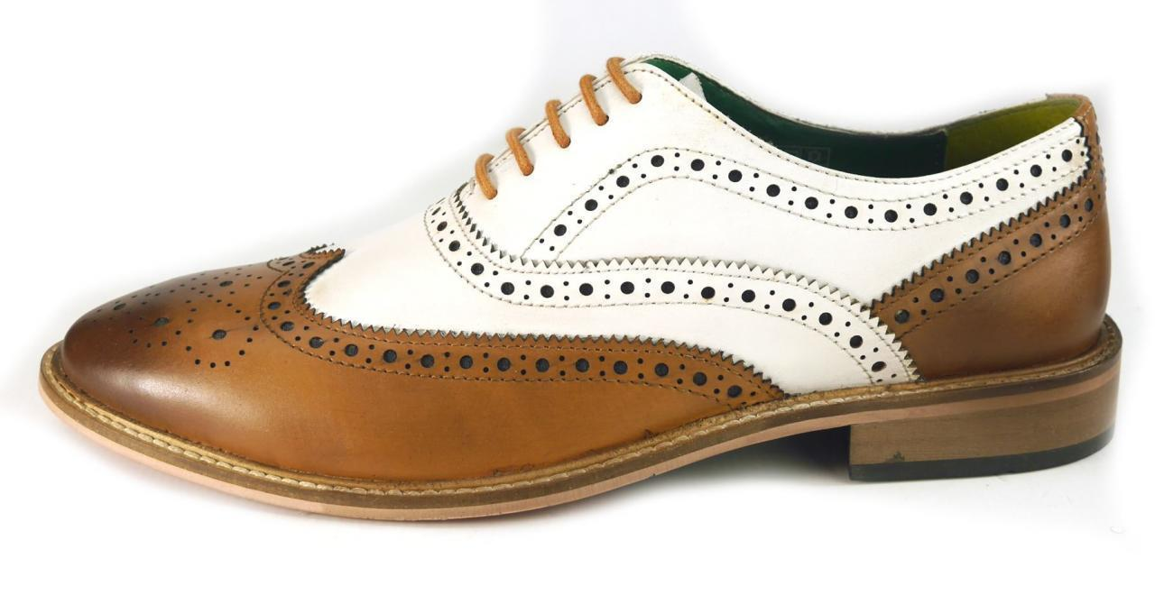 Men's Brown and White Leather Wing Tip Brogues Style Dress/Formal Oxford shoes