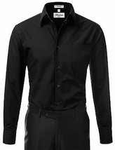Berlioni Italy Men's Black Slim Classic Standard Cuff Button Up Dress Shirt - M image 2