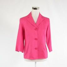 Bright pink linen blend SUSAN GRAVER 3/4 sleeve button down blouse XS - $19.99
