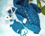 Set of knitted baby clothes: felt boots , jumpsuit and hat,  New mom mothers day - £34.35 GBP - £39.44 GBP