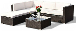 4pc Patio Furniture Clearance Set Garden Rattan Sofa Table Cushioned Wic... - $717.11