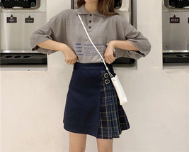 Black Navy Red Mini Plaid Skirt Women Street Style Pleated PLAID SKIRT Plus Size image 7
