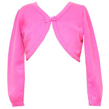 Rare Editions Little Girl 4-6X Fuchsia-Pink Bow Trim Knit Cardigan Sweater
