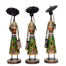 Standing Woman with Umbrella Set of 3 Multi Color Metal Table Top Showpi... - $82.95